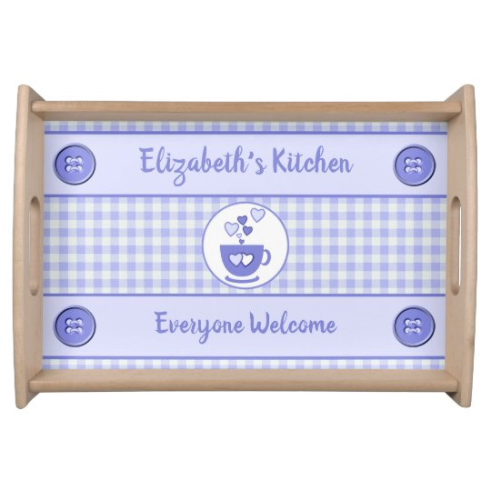 Purple gingham name kitchen serving tray