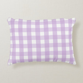 Purple Gingham Pattern Accent Pillow