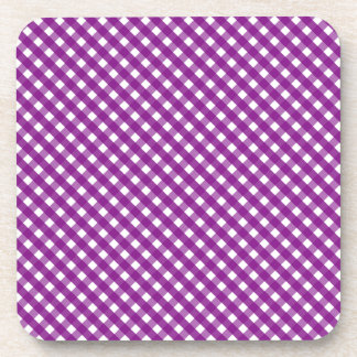 Purple Gingham Pattern Coaster