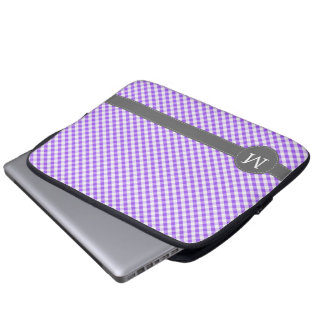 Purple Gingham Pattern Custom Monogram Laptop Sleeve