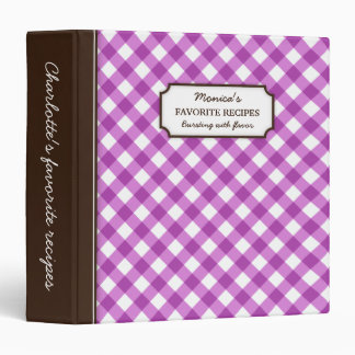 Purple gingham pattern personalized recipe book binder