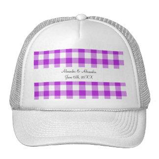 Purple gingham pattern wedding favors hat