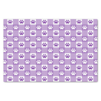 Purple Gingham with Paws Tissue Paper