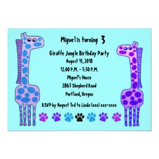 Purple Giraffe Kids Birthday Invitation