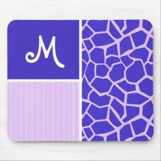 Purple Giraffe Pattern Mouse Pad