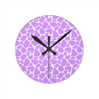 Purple Giraffe Pattern Round Clock