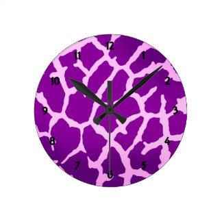 Purple Giraffe Print Round Clock