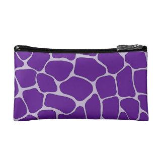 Purple Giraffe Print Small Cosmetic Bag
