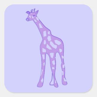 purple giraffe square sticker