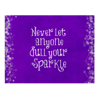 Purple Girly Inspirational Sparkle Quote Postcard