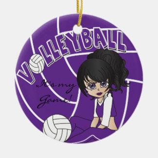 Purple Girly Volleyball Ceramic Ornament
