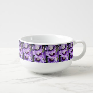 Purple Gladiolus Flolwers Soup Bowl With Handle