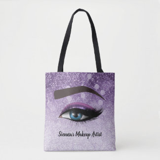 Purple glam lashes eyes | makeup artist tote bag