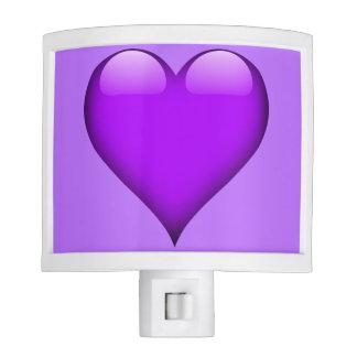 Purple Glass Heart Customizable Night Lights