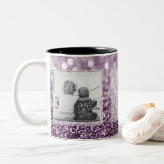 Purple Glitter 2 Pictures w/Text Design Your Own Two-Tone Coffee Mug