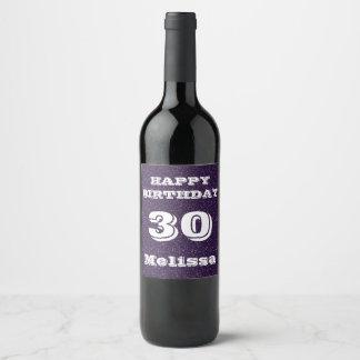 Purple Glitter 30th Birthday Personalized Wine Label