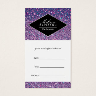 Purple Glitter and Glamour Appointment Card