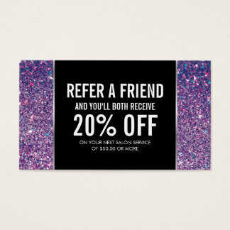 Purple Glitter and Glamour Referral Card