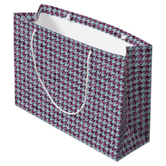 Purple Glitter and Houndstooth Large Gift Bag