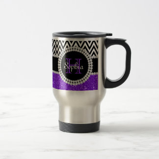 Purple Glitter B&W Chevrons Monogram Travel Mug