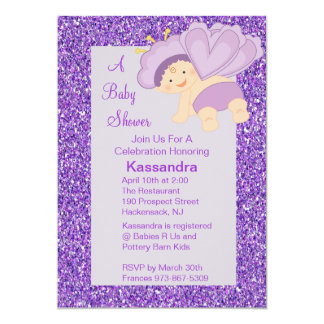 Purple Glitter Baby Butterfly Shower Invite