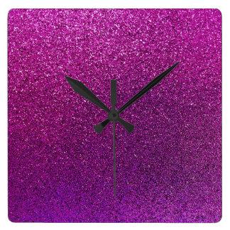 Purple Glitter Background Glittery Sparkle Square Wall Clock