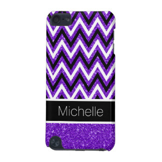 Purple Glitter Black Chevron 5G iPod Touch Case