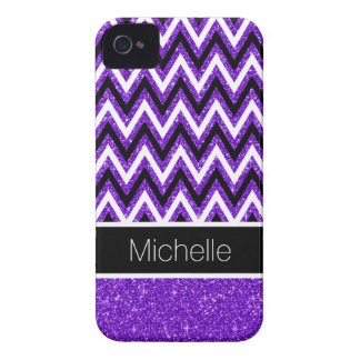 Purple Glitter Black Chevron iPhone 4 Case