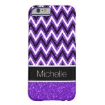 Purple Glitter Black Chevron iPhone 6 Case Barely There iPhone 6 Case