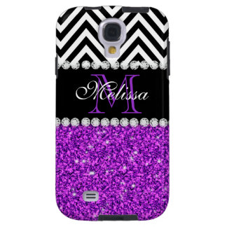 PURPLE GLITTER BLACK CHEVRON MONOGRAMMED