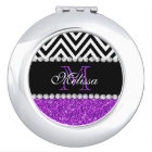 PURPLE GLITTER BLACK CHEVRON MONOGRAMMED VANITY MIRROR