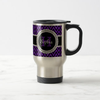 Purple Glitter Black Chevrons Monogram Travel Mug