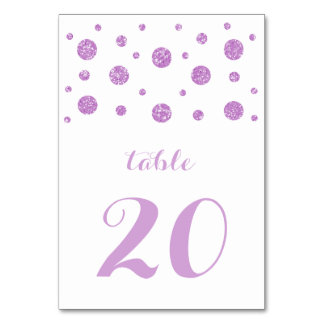 Purple Glitter Confetti Wedding Table Card