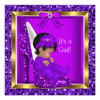 Purple Glitter Cute Baby in Shoe Baby Shower Girl Custom Announcement