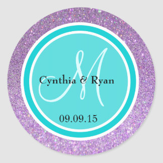 Purple Glitter & Deep Turquoise Wedding Monogram Round Sticker
