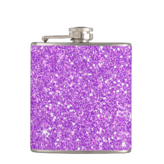 Purple Glitter Diamond Luxury Shine Hip Flask