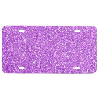 Purple Glitter Diamond Luxury Shine License Plate