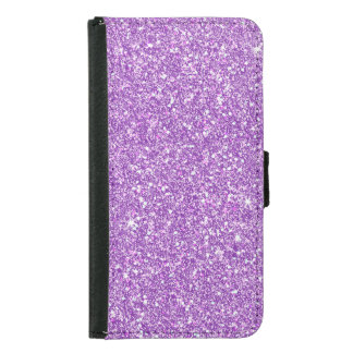 Purple Glitter Effect Samsung Galaxy S5 Wallet Case