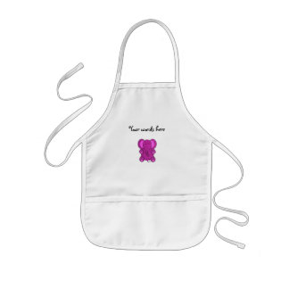 Purple glitter elephant kids apron
