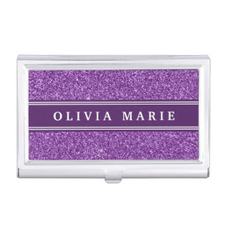 Purple Glitter (faux) Personalized Name Business Card Holder