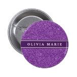 Purple Glitter (faux) Personalized Name Button