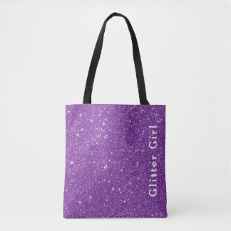 Purple Glitter Girl Show Your Glamours Sparkle Tote Bag