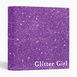 Purple Glitter Girl Show Your Glamours Sparkle Vinyl Binder