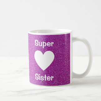Purple Glitter Heart Super Sister Mug (Any Name)