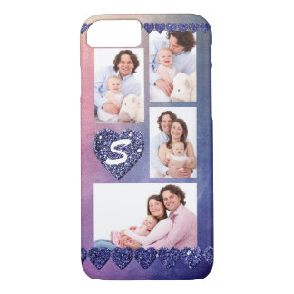 Purple Glitter Hearts on Pink/Purple Watercolor iPhone 8/7 Case