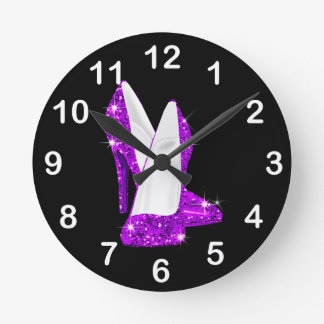 Purple Glitter High Heel Shoes Stilleto Round Clock