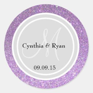 Purple Glitter & Light Silver Wedding Monogram Classic Round Sticker