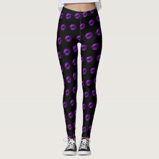 Purple Glitter Lipstick Pattern Leggings