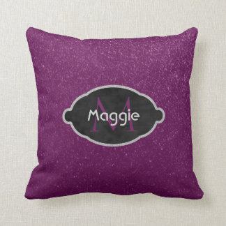 Purple Glitter Look Girly | Chalkboard Monogram Throw Pillow