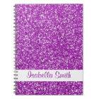 Purple Glitter Look-like And Name Notebook